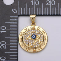 14k Gold Filled Eye Of Ra Pendant Egyptian symbol the Eye of Horus Ra Necklace Charm Blue Evil Eye Charm for Statement Necklace