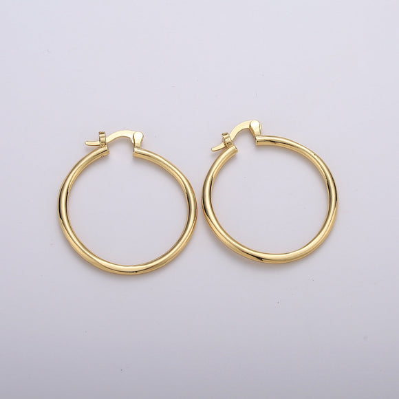 1 pair Tube Hoops Gold, 30mm Gold Hoops, Large Gold Hoop Earrings, Hollow Hoop Earrings, Chunky Hoops, Light Hoops for Every Day Wear