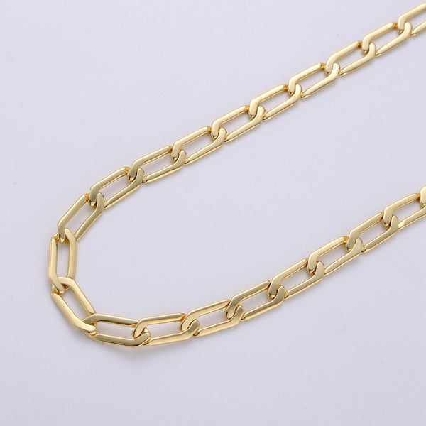 14K Gold Filled Paper Clip Chain Necklace 1 yard 12x4mm, Paper Clip Gold Chain, Long Link unfinished #238
