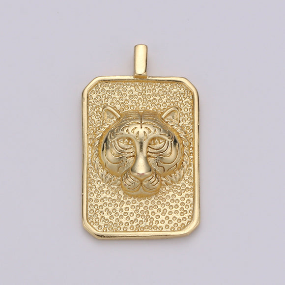 Gold Tag Tiger Charm Gold Filled Medallion, Tiger King Pendant Animal Necklace Charm for Statement Necklace Component Men Unisex Jewelry