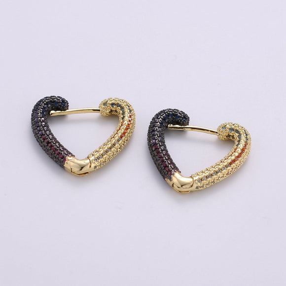 1 pair Micro Pave Gold Heart Hoop Earrings, Small Gold One Touch Hoops, Huggie Love Earring Gift For Her 24k Gold Filled Earring