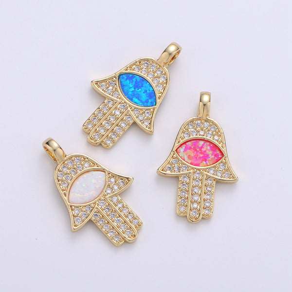 Dainty 14k Gold Filled Hamsa Hand Charm, Opal Hamsa Charm for Necklace Earring Bracelet Micro Pave Evil Eye Charm Supply
