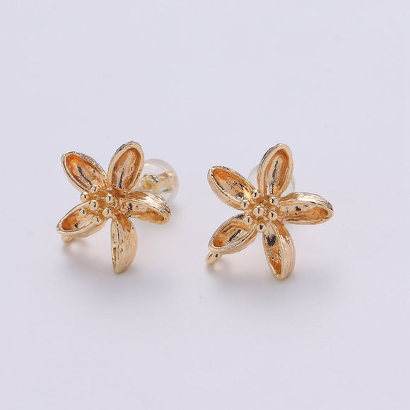 1 pair Orchid Flower Stud Earring Gold Vermeil Floral Earring Jewelry Component for Christmas Gift