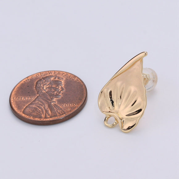 1 pair Stud Leaf Earring Gold Filled Nature Earring Jewelry Component