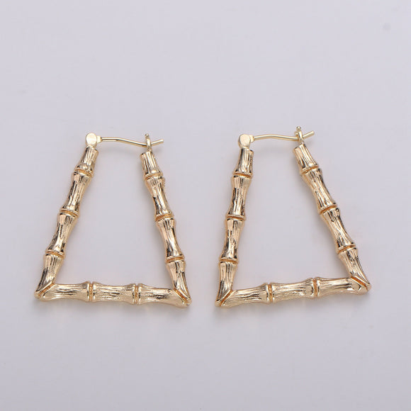 1 pair Trapezoid BAMBOO HOOP earrings Gold Bamboo Earring Triangle Bamboo Hoop Vintage Retro Earrings