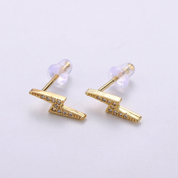 Dainty CZ Lightning Bolt Stud Earring, Gold Bolt Earring, Dainty Stud Earrings, Thunder Studs, Minimalist Stud Earrings, Cartilage Earrings