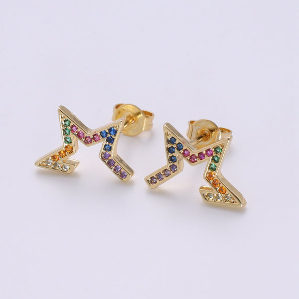 Tiny CZ Star Stud Earrings Dainty Multi Color Cloud Stud Earring Gold Minimalist Jewelry for her christmas gift