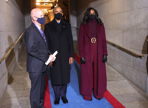 Former President Barack Obama and First Lady Michelle Obama waiting to make their entrance on the Capitol steps for the Biden-Harris inauguration.