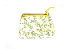 Leaf Print Fabric Travel & Make-up Pouch