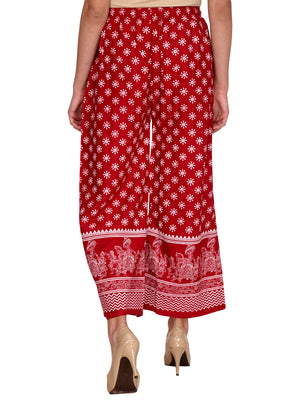 Cotton Unique printed Red Palazzo