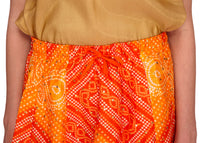 Orange Bandhani Long Skirt