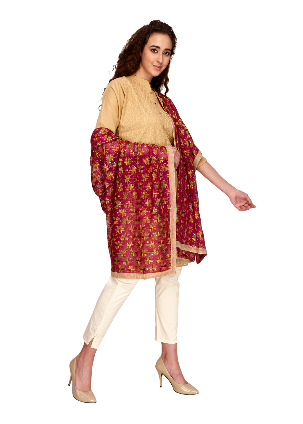 Maroon phulkari dupatta online. Floral embroidery in multi colours overall on the dupatta. Team it with a basic colour kurta to complete the look.