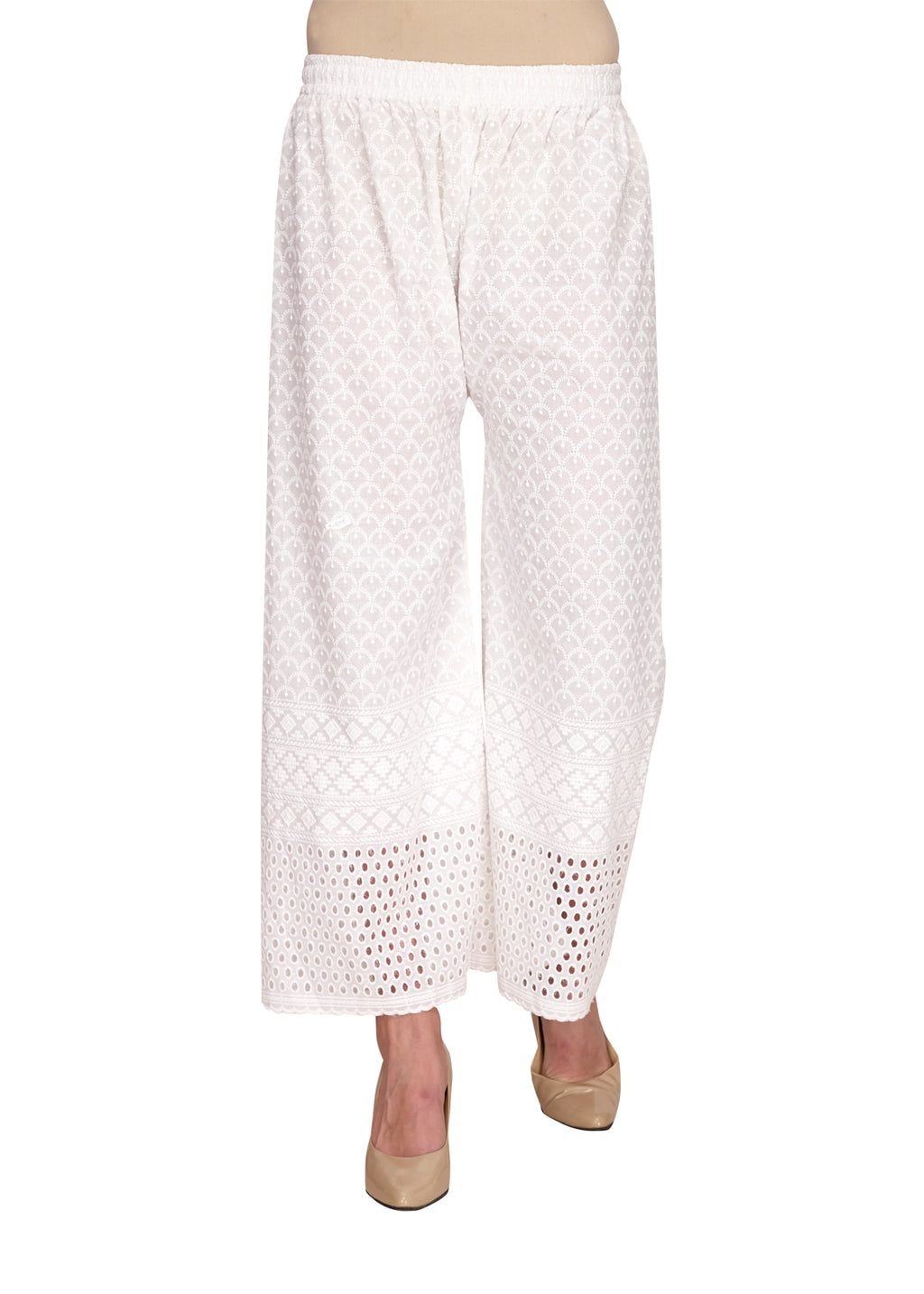 White Chikankari Hakoba Straight Fit Pants