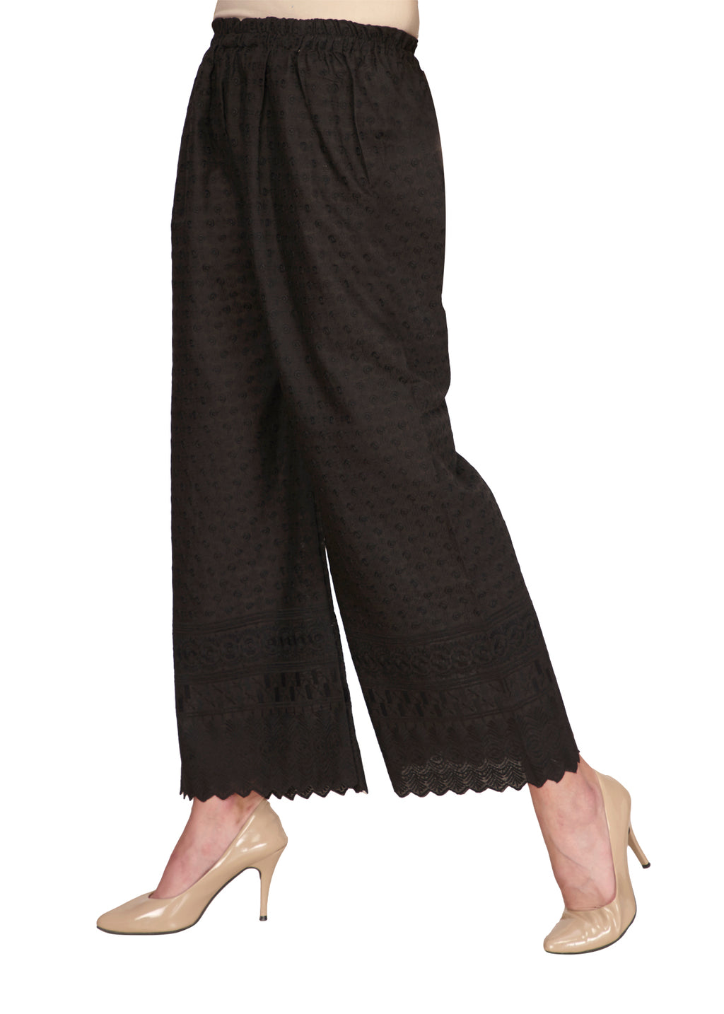 Black Cotton Chikan Pants