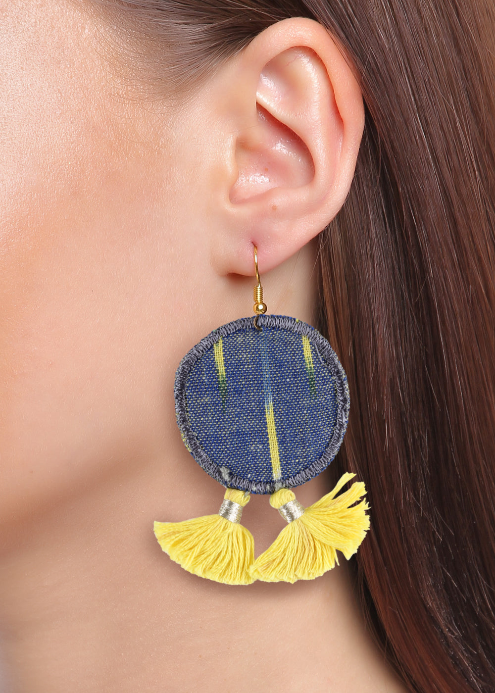 ROUND IKAT TASSEL EARRINGS STYLISH