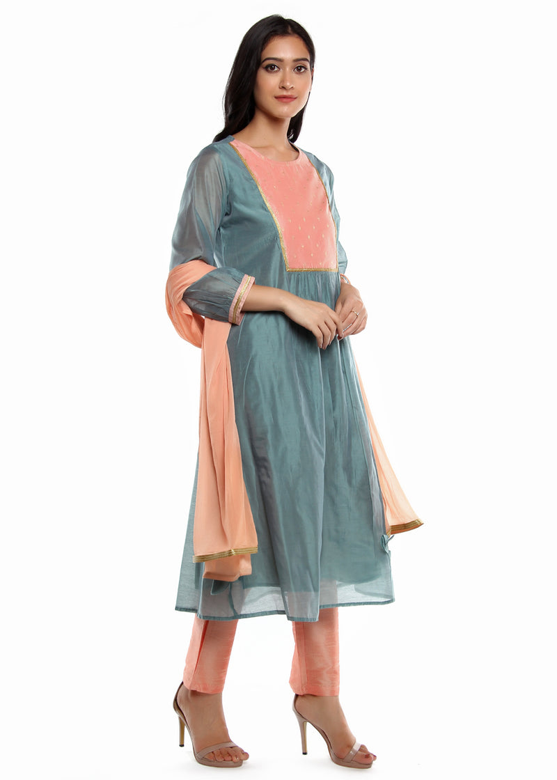 Chanderi Teal Kurta set