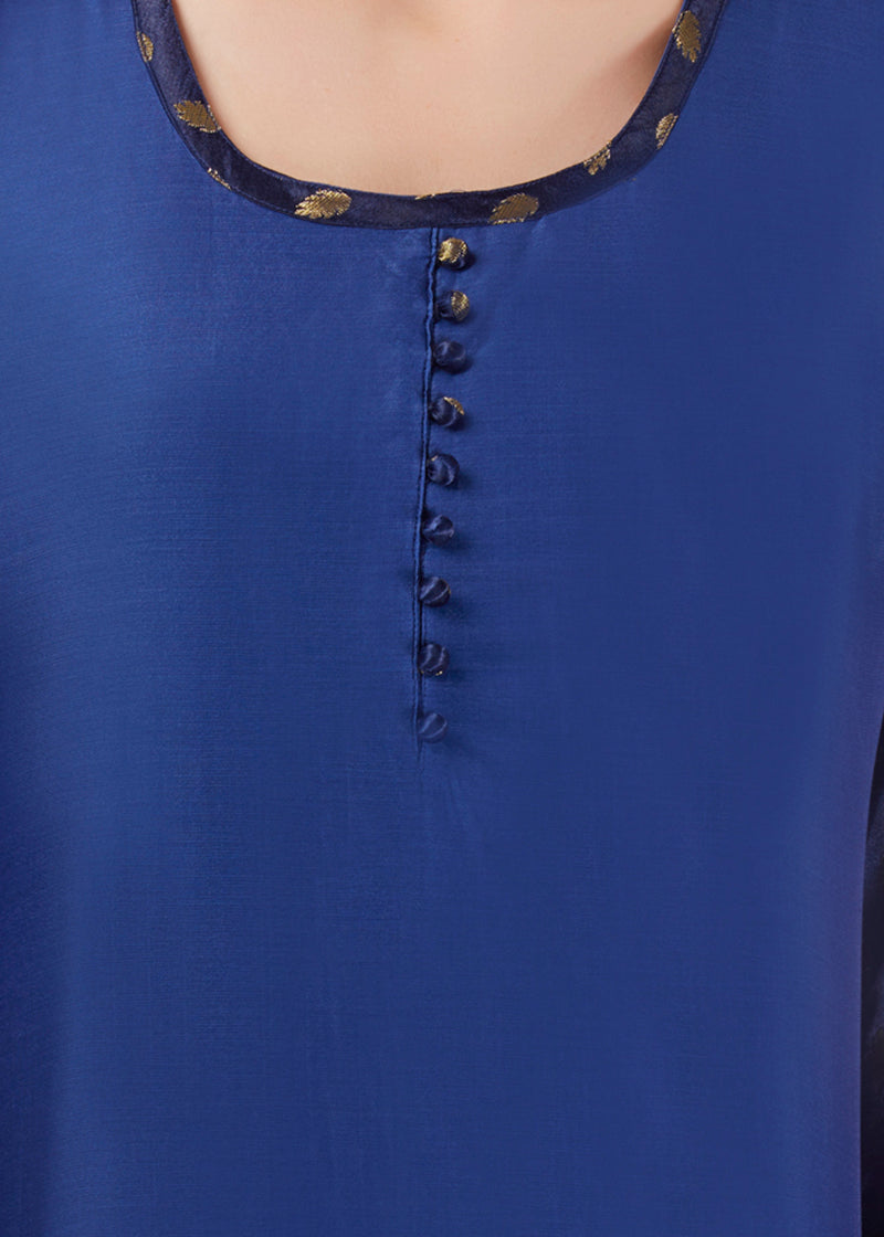 Blue Brocade Straight Kurta