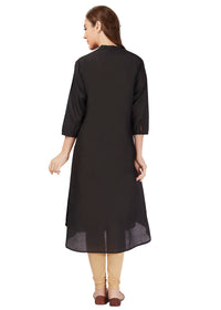 Black kurta flare plain simple jet black
