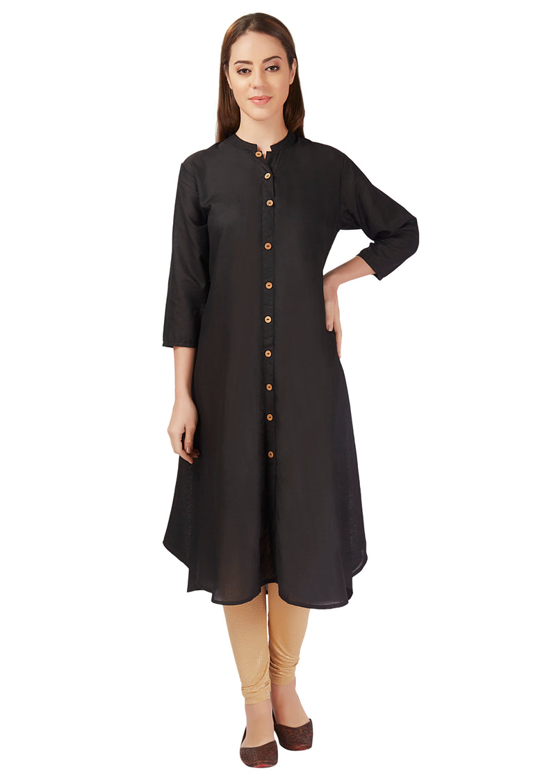 plain button long flare cotton M size kurtis