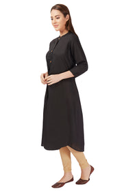 black kurta cotton solid