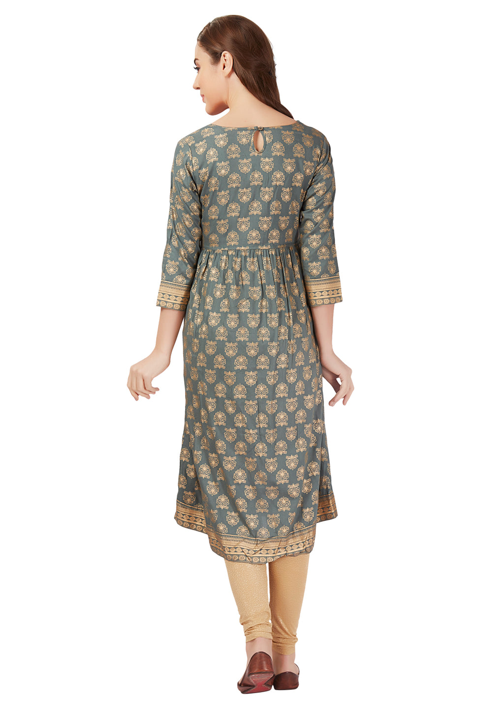 Khadi Print Grey Flair Kurta
