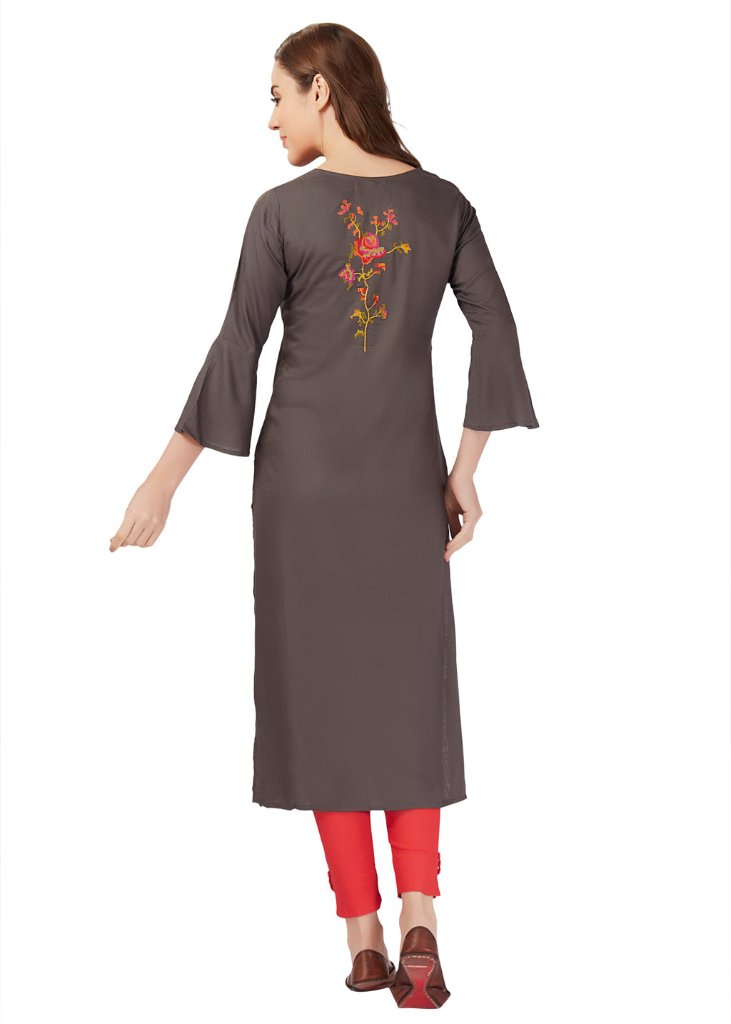 Grey Knit Embroidery Kurta