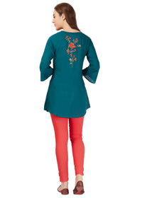 Green Knit Embroidery Tunic
