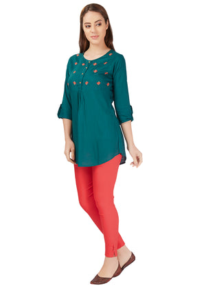 Midnight Green Floral Embroidery Tunic