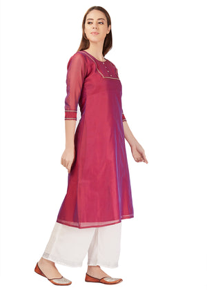 Hand Embroidery Wine Kurta