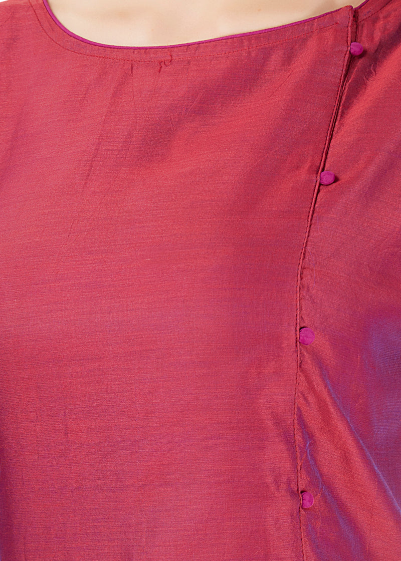 Chanderi Wine Kurta