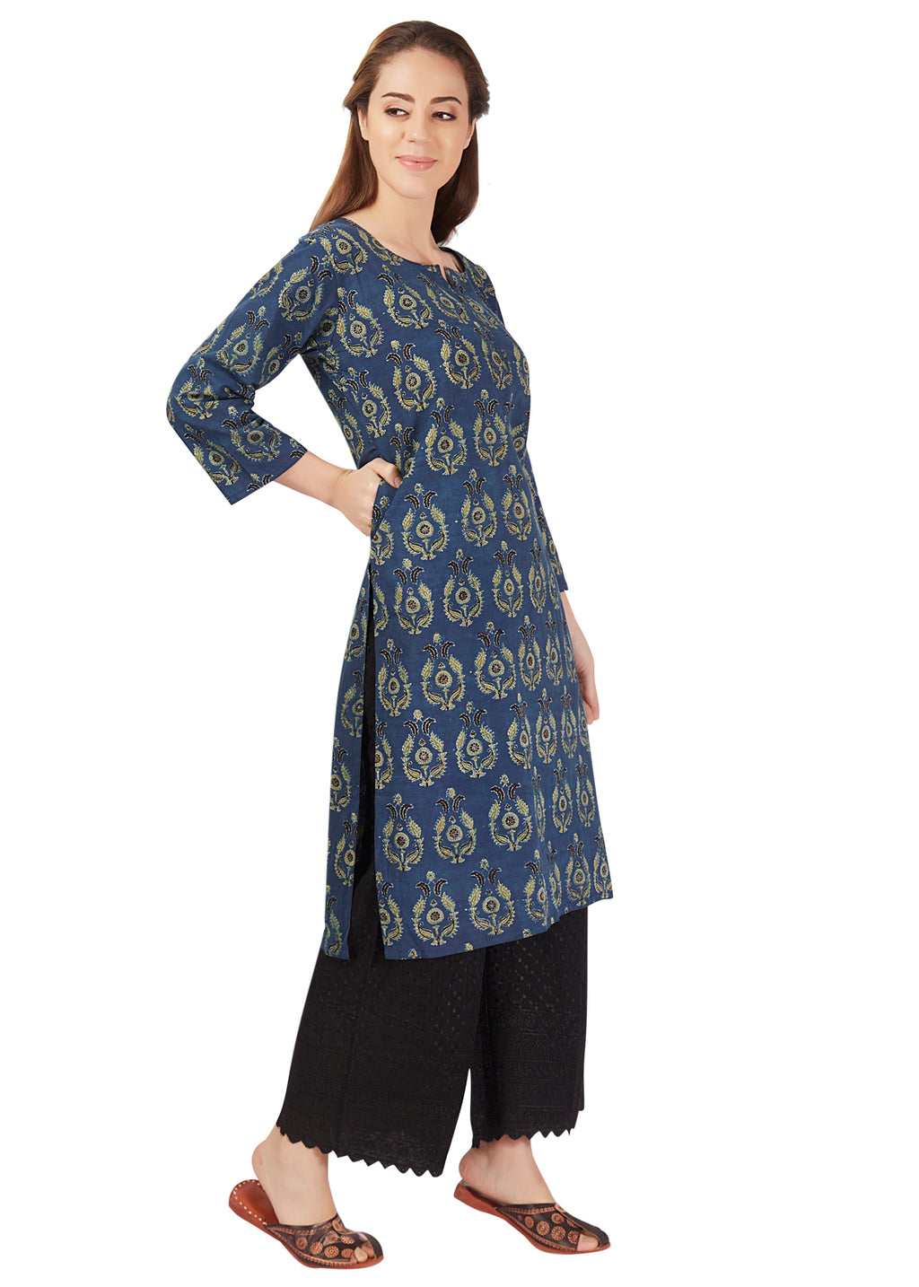 Summer Leaves Dabu Print Green Kurta