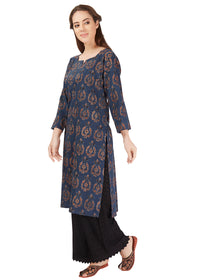 Summer Leaves Dabu Print Red Kurta