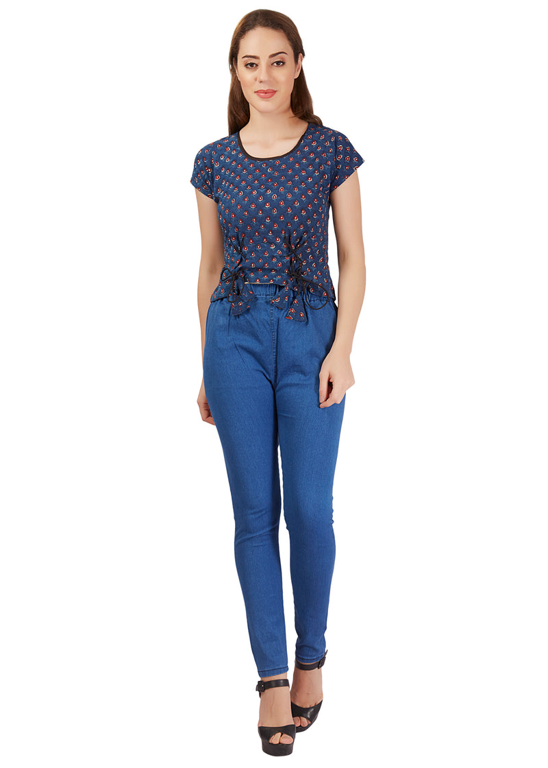 Lotus print Front Knot Crop Top