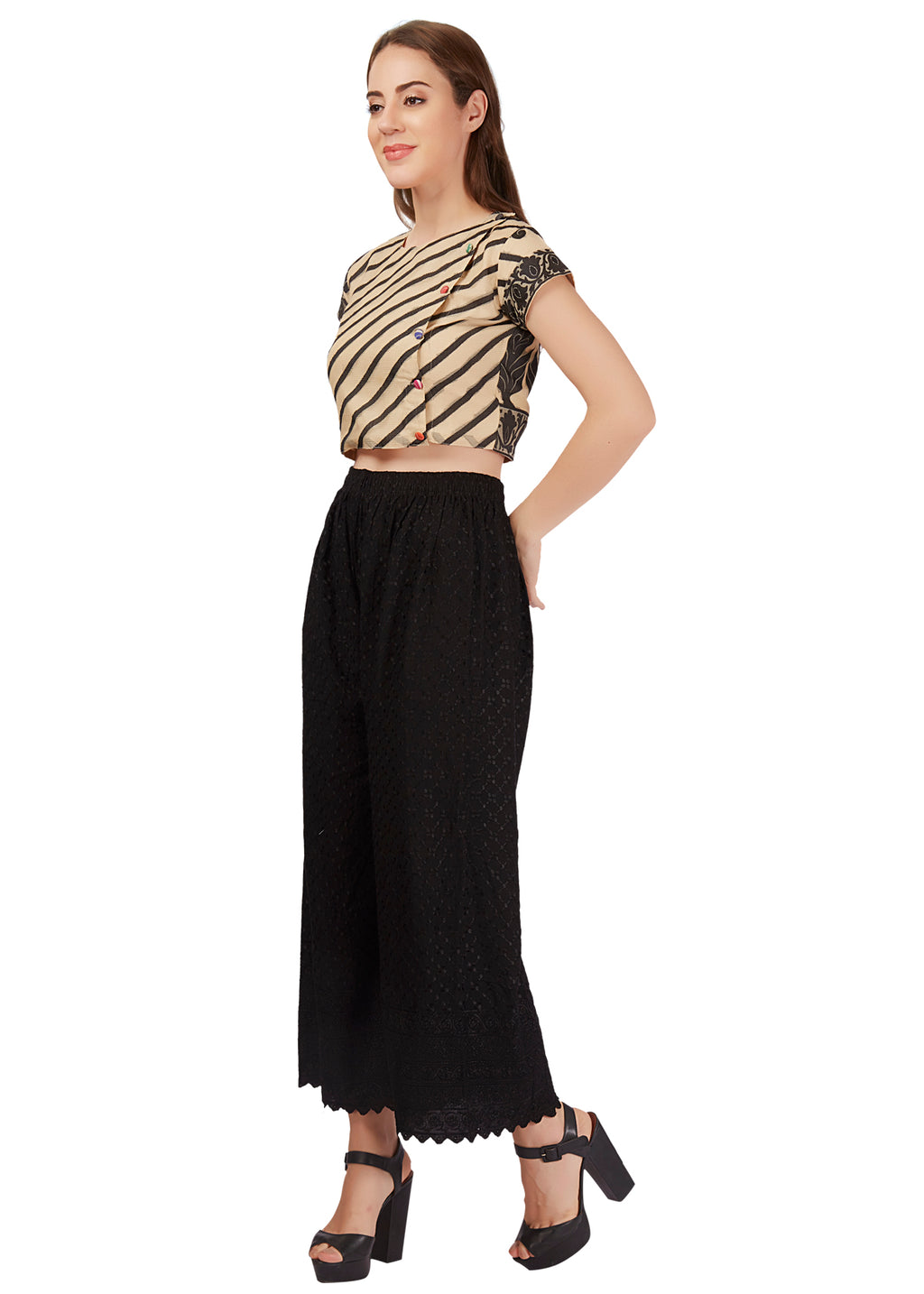 Black Ethnic Crop Top