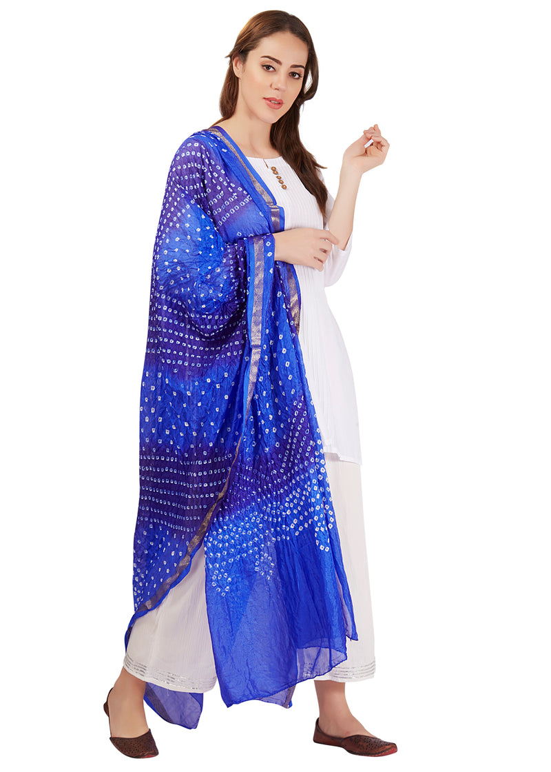 Blue Artificial Silk Bandhani Dupatta