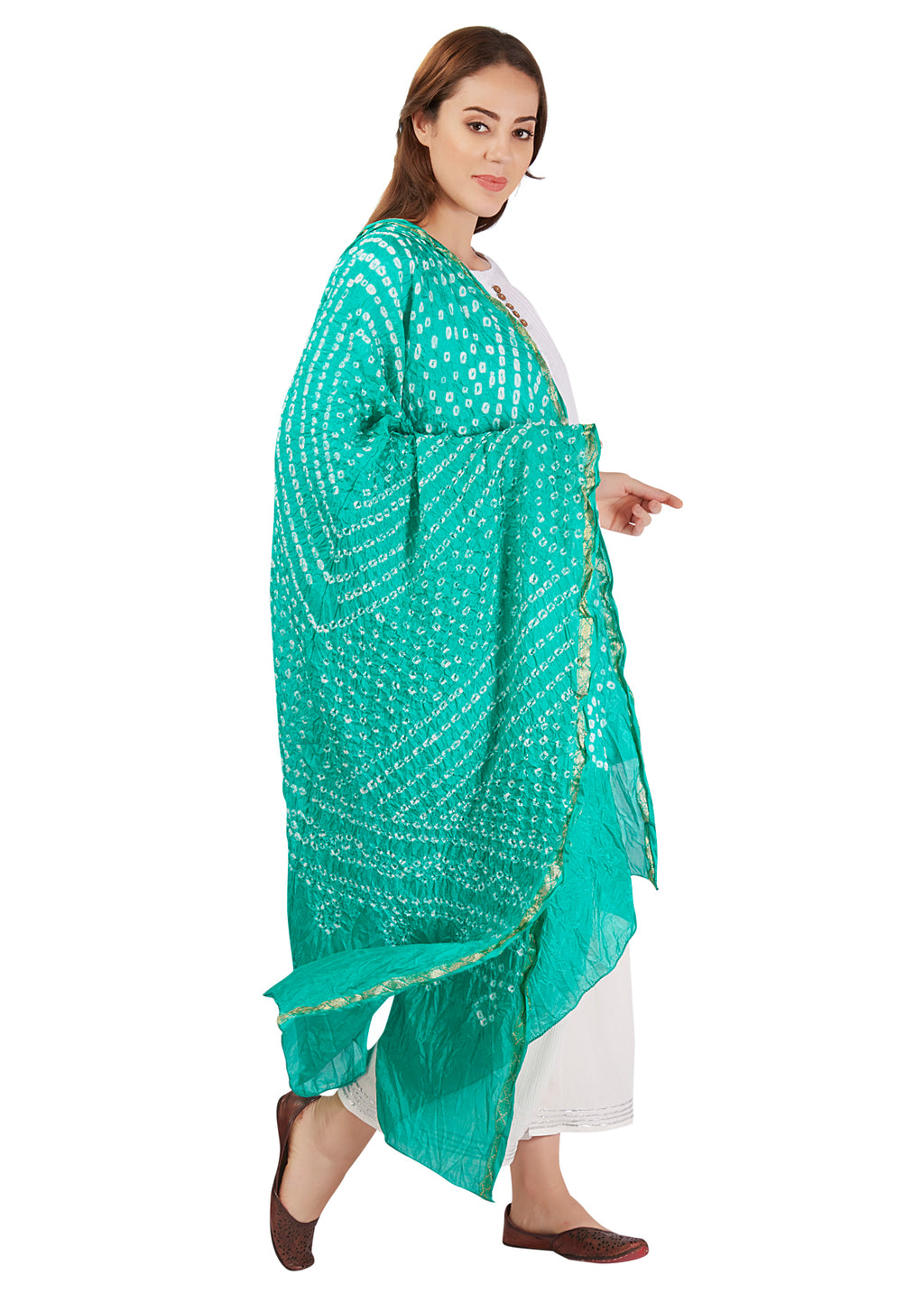 Sea Green Art Silk Bandhani Dupatta