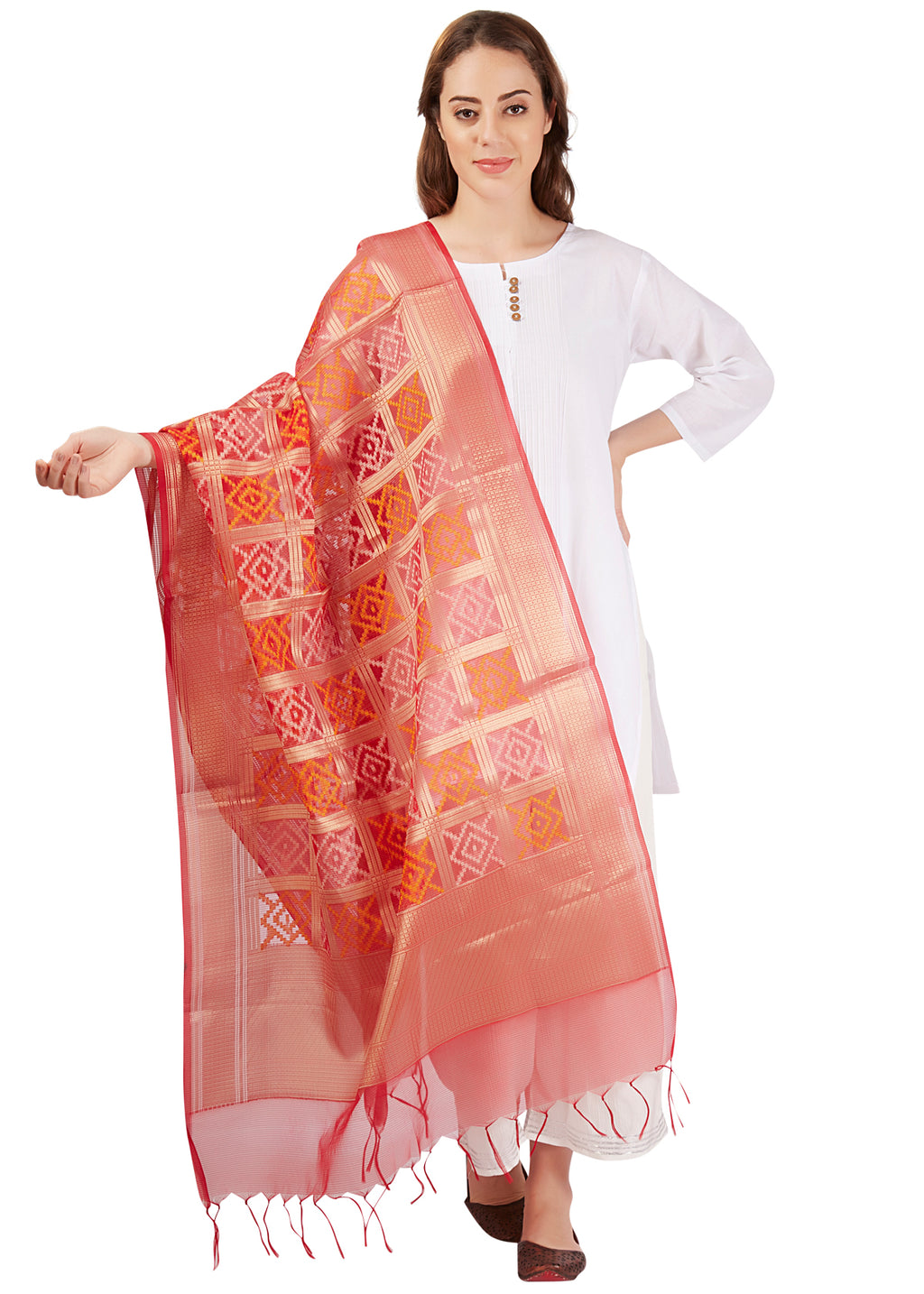 Patola - Red Diamond Print Dupatta