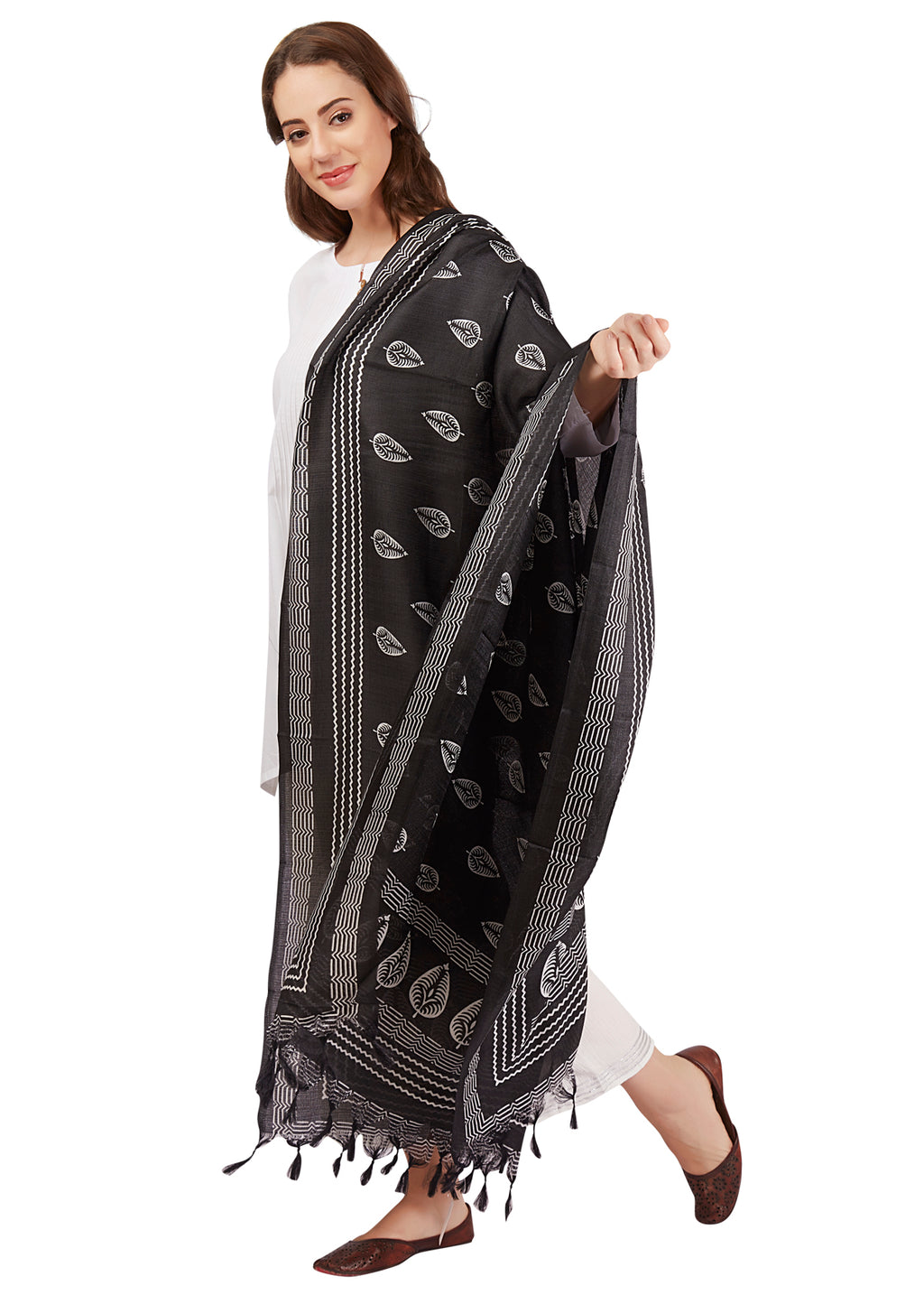 tribal Art Silk Stole Dupatta Dupattas Printed Black Leaf Floral Lightweight Print Indian Ethnic Global India