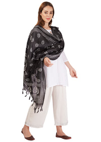 Black Dupatta with gold border