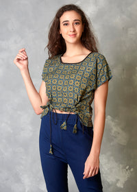 Moroccan Print Front Knot Crop Top