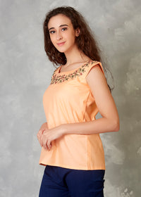 Garden Peach Hand Embroidered Top