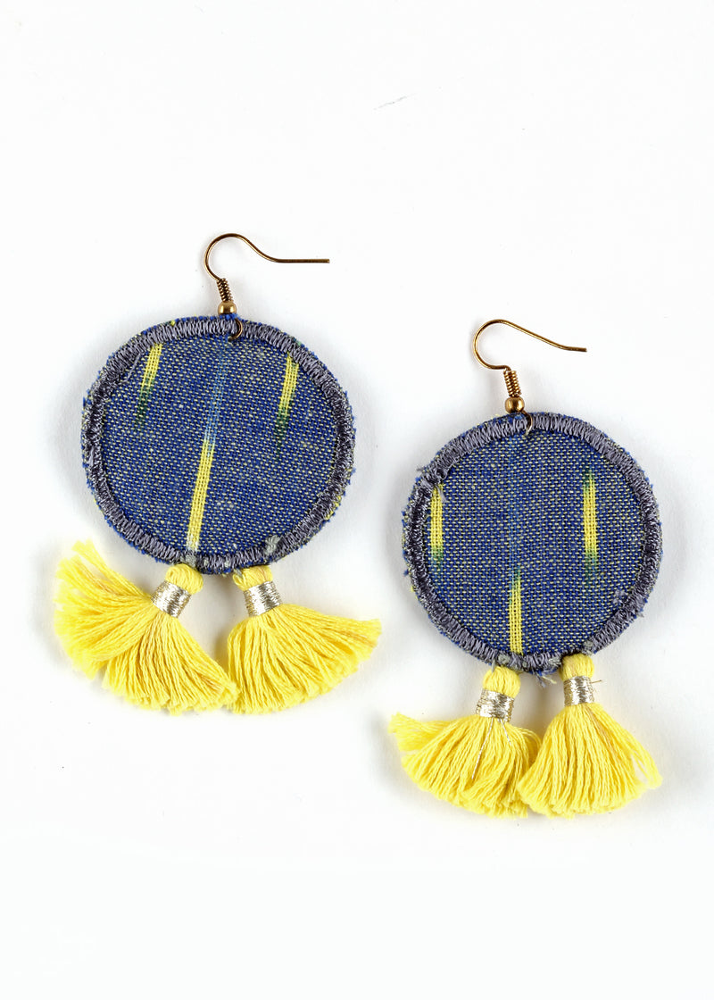 SUSTAINABLE FABRIC WASTE EARRINGS JEWELERY YELLOW