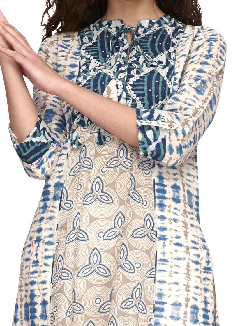 Blue Printed & Embroidered Straight Kurta