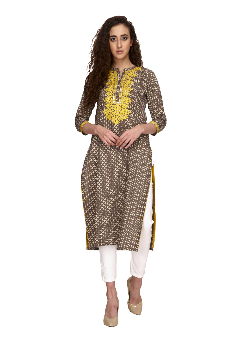 Yellow Mirror Embroidery Straight Kurta