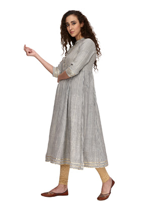 Gota Patti Grey Stripes Flared Kurta