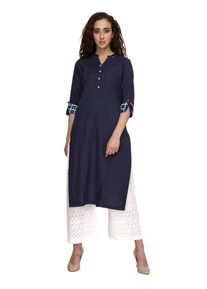 Cotton blue colour straight kurta that can be worn on off white palazoo or pant. valentines day . Fabric detailing at the end of the 3/4th sleeve. V-neck & front buttoning.