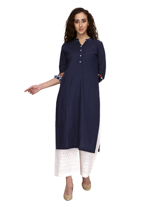 Cotton blue colour straight kurta that can be worn on off white palazoo or pant. Fabric detailing at the end of the 3/4th sleeve. V-neck & front buttoning. valentines day .