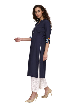 Cotton blue colour straight kurta that can be worn on off white palazoo or pant. Fabric detailing at the end of the 3/4th sleeve. V-neck & front buttoning.