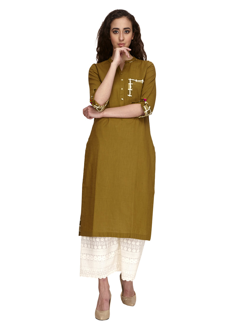 Cotton olive colour straight kurta that can be worn on off white palazoo or pant. Fabric detailing at the end of the 3/4th sleeve. V-neck pattern with front pocket..