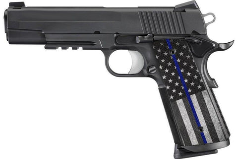 Thin Blue American Flag 1911 Grips - Rough Textured Ergo Grips XT